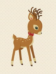 Baby reindeer with bow polka-dot card