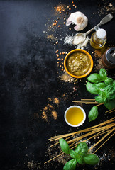 Food frame, italian food background, healthy food concept or ingredients for cooking pesto sauce on a vintage background, top view with copy space