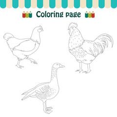 Coloring page farm birds