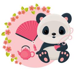 Baby panda is drinking oriental tea. Vector cartoon illustration