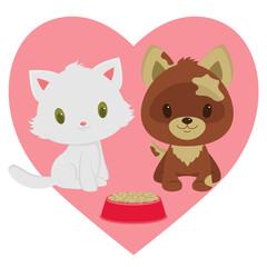 Kitten and puppy friendship.