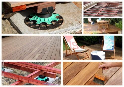 montage photo r alisation d 39 une terrasse en bois exotique photo libre de droits sur la banque. Black Bedroom Furniture Sets. Home Design Ideas