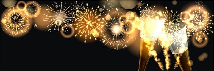 Hintergrund mit Feuerwerk zum Jahreswechsel