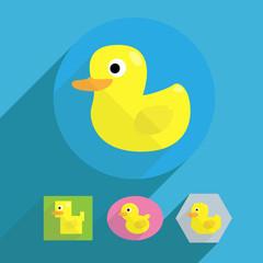 cartoon flat shape rubber duck illustration