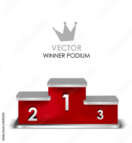 red winner podium with first second third place vector isolated