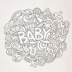 Cartoon vector hand drawn Doodle Baby illustration