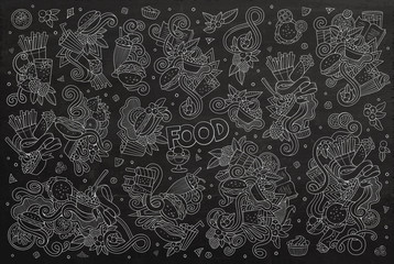 Chalkboard vector hand drawn doodles cartoon set of food objects