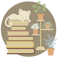 Sleeping cat on a pile of books close to indoor plants.