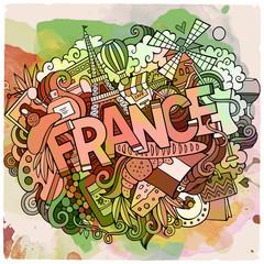 Cartoon vector hand drawn Doodle France illustration