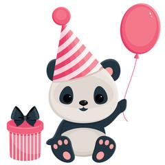 Birthday panda with gift box and balloon