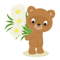 Teddy bear with a bouquet of flowers