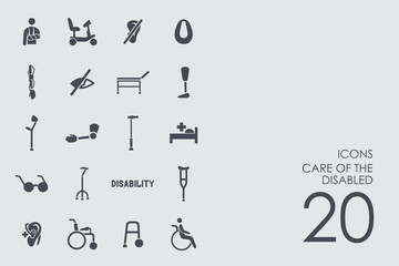 Set of people with disabilities icons