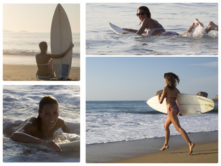Collage of woman surfing