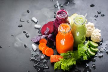 Fresh Juice Smoothie Color Vegetables Bottles