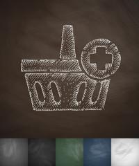 add to basket icon. Hand drawn vector illustration