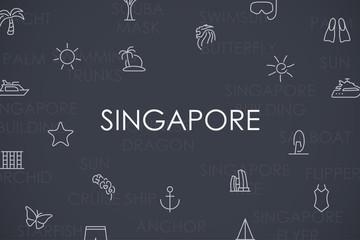 Singapore Thin Line Icons