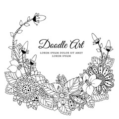 Vector illustration of floral frame . Dudlart. Coloring book anti stress for adults. Black white.