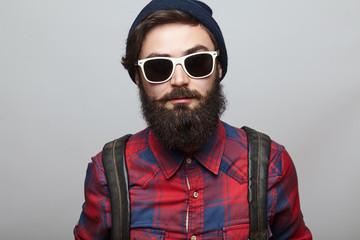 Portrait brutal bearded hipster man