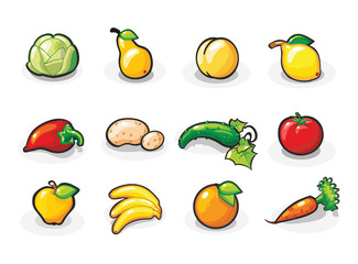 Vector icons of fruits and vegetables. Cartoon illustration.