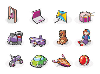 Vector icon set of toys.