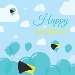 Bahamas Independence Day Flat Patriotic Design. Bahamian Flag Balloons. Happy National Day Vector Card.