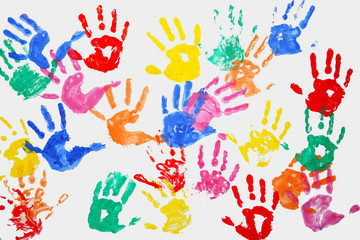 Color kids hands art background