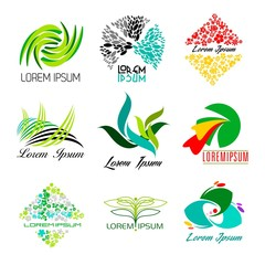 Ecology, bio, flowers logo set - Isolated On Background - Vector illustration, Graphic Design, Editable For Your Design