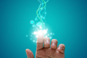 dito, mano , raggi, luce, particelle