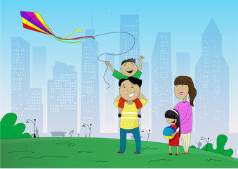 Vector illustration of happy family flying kite inpark on the outskirts of the city
