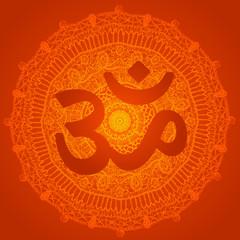 Vector oriental mandala with om symbol. Circle meditative yoga design, traditional indian style