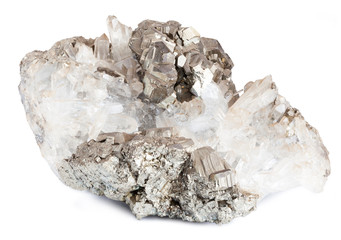 Zinc ore with crystals isolated on white with clipping path