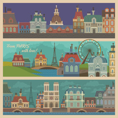 Set of Banners with Cartoon Views of Paris