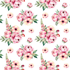 Loveley Seamless pattern with flowers,peonies,leaves,branches,lupin,raspberry, strawberry and more.Perfect for your project,wedding,greeting card,photo,blog,wallpaper,pattern,texture,cover.
