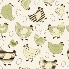 Seamless pattern with chicken