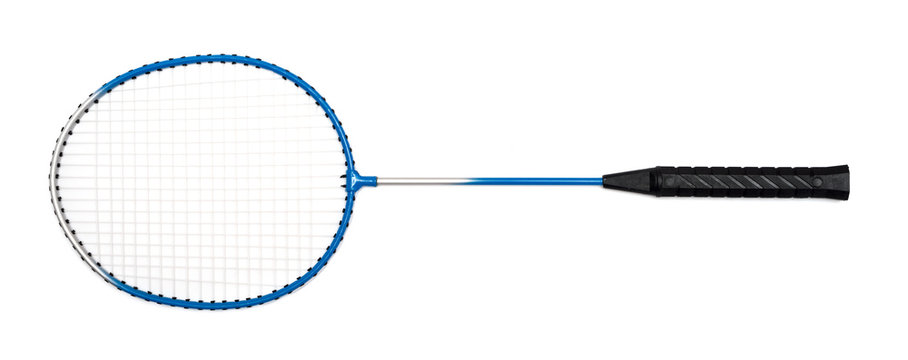 child's hand holding a badminton racket on a white