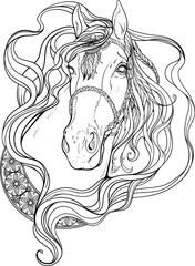 Portrait of a horse decorated with strips and feathers. Coloring