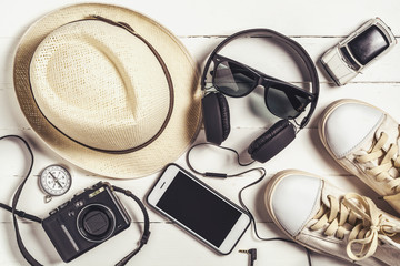 Overhead view of Traveler's accessories, Essential items of trav