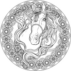 horse in frame of floral elements. Coloring page.