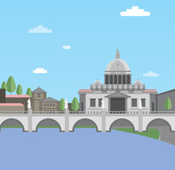 Vatican City, flat style illustration.