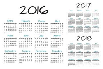 Spanish Calendar 2016-2017-2018 vector