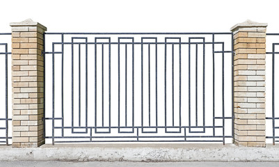 metal fence with brick pillars
