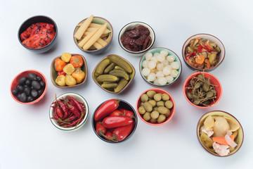 Pickled cucumber, olives and vegetables