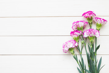 Pink carnations on wooden background