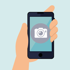 smartphone with hand isolated icon design, vector illustration  graphic