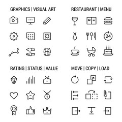 Icons sets: graphics and visual art, restaurant and menu, rating and status, move and copy. Linear, black.
