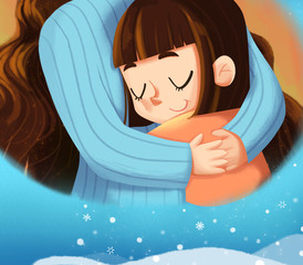 Mom I Love you, The Little Girl Gives a Big Hug to Her Mother. Creative Idea, Innovative art, Concept Illustration, Greeting Card Background, Cartoon Style Artwork
