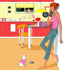 girl speaking mobile phone call in the kitchen