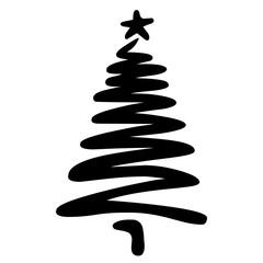 Weihnachtsbaum mit ein paar schnellen Linien locker skizziert – schwarz-weiß, Vektor, freigestellt