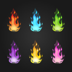 Set vector magic fire in different colors