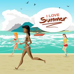 Sea landscape summer beach, women dressed in swimsuit is running